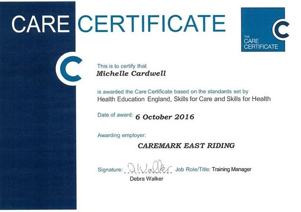 Michelle Cardwell Completes The Care Certificate Caremark