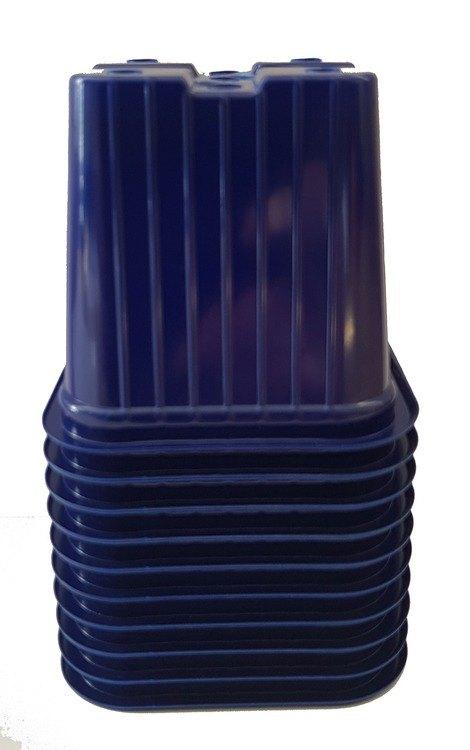 Blue 7cm Square Lightweight Plant Pots X 10
